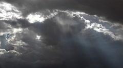 4K Heavenly Rain Shafts Streak Cloudy Sky Time Lapse Stock Footage
