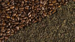 Roasted coffee beans and tea leafs background rotation 4k Stock Footage