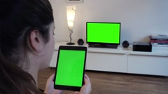 Green Screen Tablet Close Up - Full HD Stock Footage