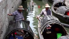 Chinese Black-awning boats sailing on canal Stock Footage