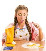 Blonde smashed egg - stock photo