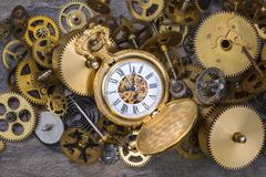 Pocket Watch and old Clock Parts - Cogs, gears, wheels Stock Photos