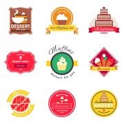 Confectionery And Bakery Flat Emblems Set - stock illustration