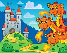 Castle and lurking dragon heads - eps10 vector illustration. Stock Illustration