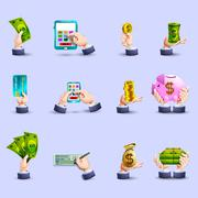 Hands payment flat icons set Stock Illustration
