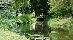 Water and bridge at Acquigny Castle, France Stock Footage