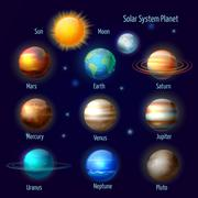 Solar system planets pictograms set Piirros