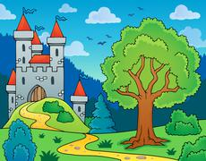 Castle and tree theme image - eps10 vector illustration. - stock illustration