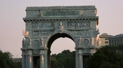 ULTRA HD 4K real time shot,view of Arc de Triomphe in Genoa, Stock Footage