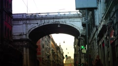 ULTRA HD 4K real time shot,Via XX Settembre high street, Genova Stock Footage