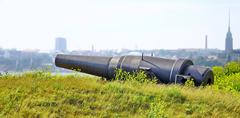 Old Russian Cannon in Suomenlinna Sveaborg Helsinki Finland - stock photo