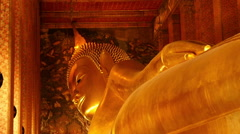 Zoom Out - Statue of Reclining Buddha - Thailand - stock footage