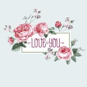 Vintage Watercolor Greeting Card with Blooming English Roses - stock illustration