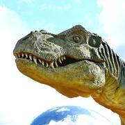 Dinosaur Tyrannosaurus Rex Head - stock photo