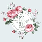 Vintage Watercolor Round Frame with Blooming English Roses - stock illustration