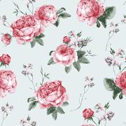 Vintage Floral Seamless Background with Blooming English Roses - stock illustration