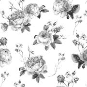 Vintage Floral Seamless Background with Blooming English Roses Stock Illustration