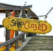 Old wood notice board/Ship closed - stock photo