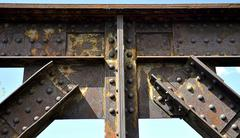 railway bridge - riveted joints - stock photo