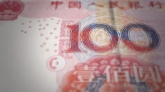 Renminbi rmb yuan Chinese money banknote international economy currency Stock Footage