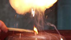 Burning magnesium powder with sulfur. Stock Footage