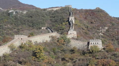 Great Wall watchtowers, mountains, China Stock Footage
