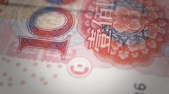 Bank Renminbi rmb yuan Chinese money banknote international economy currency - stock footage