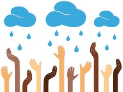 Multicolour Human Hands and Raining Clouds - stock illustration