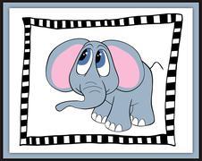 Beautiful card with cute cartoon elephant - stock illustration