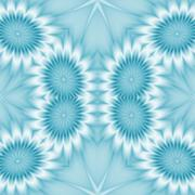 Kaleidoscopic abstract floral background. Seamless pattern in blue - stock illustration