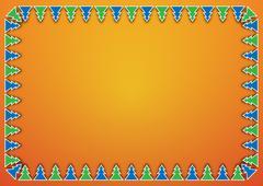 trees on orange background - stock illustration