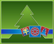 Stock Illustration of Christmas icons with tree in the background