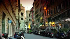 ULTRA HD 4K real time shot,Porta Soprana, an ancient gate of Genoa, Italy Stock Footage