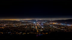Glendale and Los Angeles, California Night Wide Timelapse Stock Footage