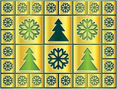 Stock Illustration of golden snowflakes and trees on the green
