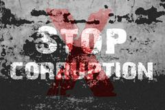 Text for Stop Corruption on grunge background - stock illustration