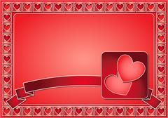 Stock Illustration of Valentine frame with hearts and ribbon