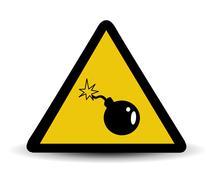 Vector bomb warning sign Stock Illustration