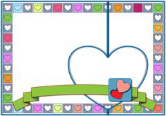 Stock Illustration of Valentine hearts in pastel colors squares