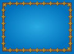 Stock Illustration of blue background framed with cross pattern