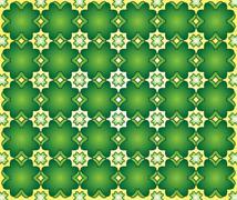 background of green quatrefoil - stock illustration