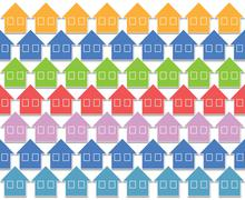 pastel color houses - stock illustration