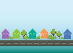 Stock Illustration of street with houses