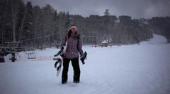 Mountains ski resort nature in during snowfall and moving clouds in the sky Stock Footage