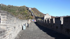 Chinese family walking Great Wall of China Stock Footage