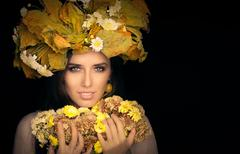 Autumn Woman Beauty Portrait with  Flower Bouquet - stock photo