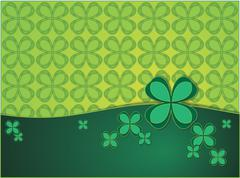 Stock Illustration of green background with clover leaf