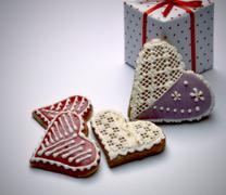 Stock Photo of gingerbread hearts with the package
