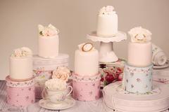 mini cake with icing - stock photo