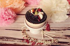 gourmet wedding chocolate cake - stock photo